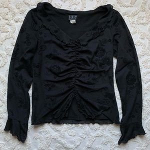 Gothic 90s Velvet Paisley Belly Button top